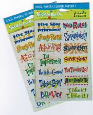 2 NEW Packs Sparkly Reward Scrapbook Stickers! 4 Sheets Five Star Performance