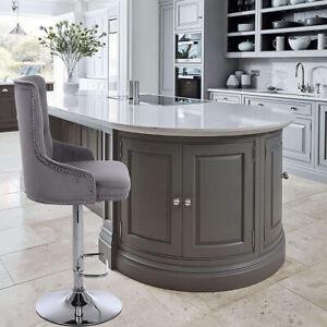 CGC Grey Velvet Chrome Stud Button Back Chaise Adjustable Bar Stool Tall Chair