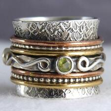 Ring Solid 925 Silver/Peridot Spr1059 Chunky Spinner Us 11 Silversari Fidget