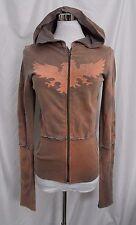 Spy Zone Hoodie Zipper Front Sweatshirt Tie Dye Brown Coral size Small Vintage