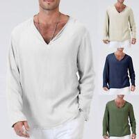 Mens Autumn T-Shirt Cotton Linen Thai Hippie Shirt V-Neck Beach Yoga Top Blouse