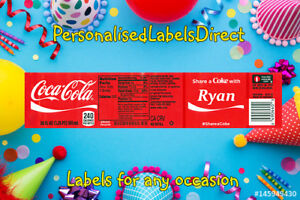 4 X PERSONALISED COCA COLA BOTTLE LABEL - PARTY / BIRTHDAY / WEDDING OCCASION