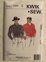 KWIK SEW MEN'S SHIRT PATTERN 2000 SIZE S M L XL UNCUT SEALED