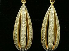 E085- Genuine 18K Solid Gold NATURAL Diamond Sparkling Drop Earrings 0.75ct