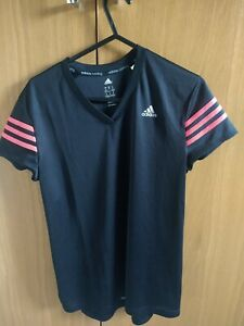 Women's Adidas Running Top Size 12 Black And Pink Breathable Activewear