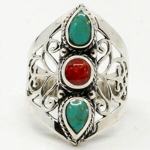 Turquoise Coral Natural Organic Gem Bling Ring 925 silver Sizes O, P & S