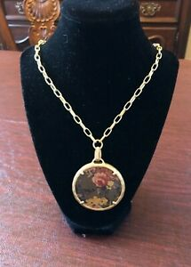 Patricia Nash Coretta Gold Leather Medallion Necklace, Floral Adjustable NWT $49