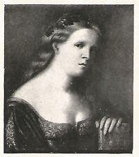 D0234 Palma il vecchio - Ritratto di donna - Stampa d'epoca - 1927 old print