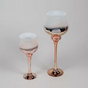 Windlicht rose-gold weiß Glas 35 oder 50 cm Kelch Kerzenständer Deko formano