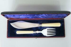 FINE STERLING SILVER FISH SERVERS by JAMES DIXON 1911 MINT CONDITION knife fork