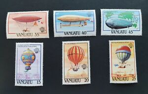 VANUATU 1983 Aviation Flight Balloon zeppelins MNH SG366/371.