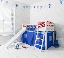 Cabin Bed Shorty 2'6 with Slide Junior Bed Oskar in White with Blue Tent Kids