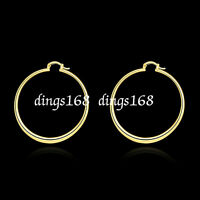 Women's 18K Gold Filled 59mm X-Large Light Weight Round Flat Hoop Earrings H815G