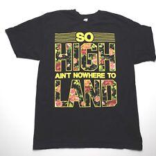XL Black t shirt Floral Print Skate Fashion 420 So High ain't Nowhere to Land