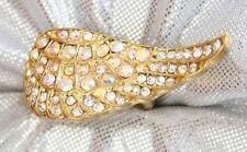 Art Moderne Aurora Borealis & Crystal Rhinestone Pave Wing Ring