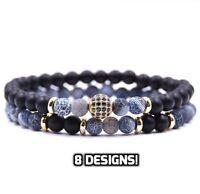 2pcs Natural Stone Friendship Bracelet Adjustable Bangle Wristband Beaded GIFT
