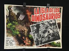 "1967 THE ISLAND OF THE DINOSAURS Original Mexican Movie Lobby Card 16""x12"""