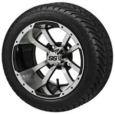 4 Golf Cart 215/40-12 Tire on a 12x7 Blk/Machined  Maltese Cross Wheel