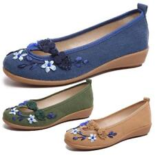Womens Embroidery Flower Slip on Canvas Flats Round Toe Boat Shoes Sneaker Wedge