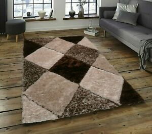 Brown Shaggy Rug Non Shed Polyester Living Room Rugs Warm Natural Bedroom Rugs