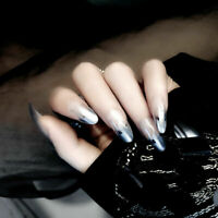 24Pc Clear Silver Flame French False Nail Art Tips Acrylic Full Cover Fake Nails