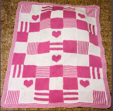 KNITTING PATTERN -  PRETTY PATCHWORK SQUARES HEARTS & STRIPES BABY BLANKET/SHAWL