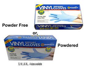 Powdered / Powder Latex Free Blue Clear Vinyl Non-Sterile Gloves UK