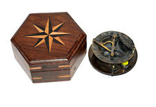 Antique vintage brass sundial compass marine maritime compass with wooden box