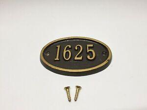 Whitehall #1625 Horizontal Mini Address Plaque Cast Aluminium Sign Gold on Brown