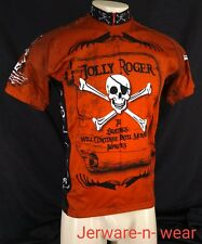 World Jerseys Jolly Roger Pirate Skull Cycling Jersey Red Black Mens M Medium