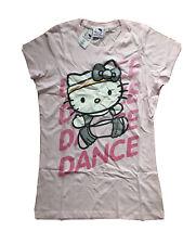 UFFICIALE Hello Kitty Danza Rosa 100% cotone slim fit tee UK 12 EU 40 Piccoli Nuovo Con Etichetta