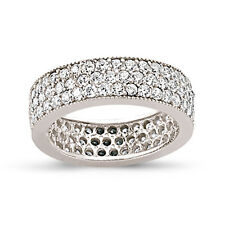 STERLING SILVER LADIES CUBIC ZIRCONIA CZ FULL ETERNITY BAND WEDDING RING BOXED