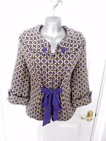 ❤ LOOKING GLASS Size 10 Brown Purple Popper 35% Wool Jacket Alice in Wonderland