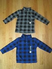 Twin boys Gray Blue Checkered Half Zip Fleece sweatshirts pullovers NWT 4