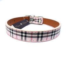 "BRAND NEW Tartan Check DOG PUPPY COLLARS in Pink Cream, 11-15"", with tags"