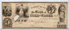 Civil War Obsolete Currency Remainder Unissued - Bank of Cold-Water MI $5*