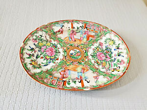 Antique Chinese Porcelain Famille Rose Medallion Hand Painted Enamel Oval Plate