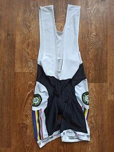 Mens Pissei Cuore Italian made Black & White cycling Cycle bib shorts size 5