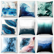 """PILLOW COVER Teal Blue White Abstract Art Home Decor Marble Cushion Case 18x18"""""""