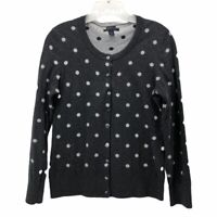 Tommy Hilfiger Womens Cardigan Sweater Gray Polka Dot Long Sleeve Crew Neck M