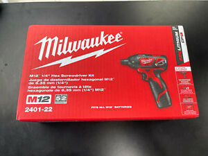 """Milwaukee M12 1/4"""" Hex Screwdriver Kit- 2 Battery, Charger, Bag 2401-22 NEW!"""