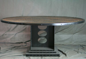 Vintage Industrial Large Dining Table - Reclaimed Wood Conference Table - Urban