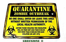 Quarantine Zombie Outbreak Wooden Army/ Airsoft Sign for Kids Bedroom Door/ Wall
