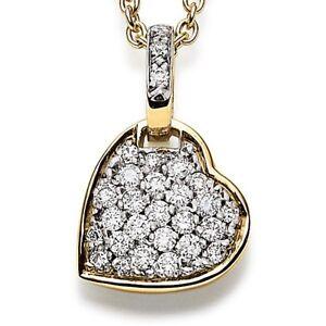 Pendant Brillantherz Heart With 29 Diamonds 0.35ct. 750 Yellow Gold