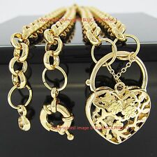 Real Solid 18k Yellow Gold GF Bolt Ring Chain Heart Clasp Padlock Women Necklace