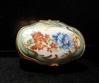 Vintage Gilt Limoges Teal Floral Trinket Box