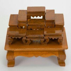 Hand Carved Altar Table Wood Meditation Unique Small placing Meditation carved