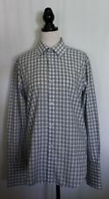 OXFORD ~ Mens Italian Cotton White Blue Check Houndstooth French Cuff Shirt L