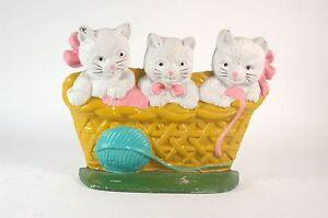Cast Iron Doorstop Three Little Kittens in a Basket