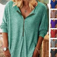 Women Casual Long Sleeve Zipper V Neck T Shirt Blouse Loose Pullover Tunic Tops